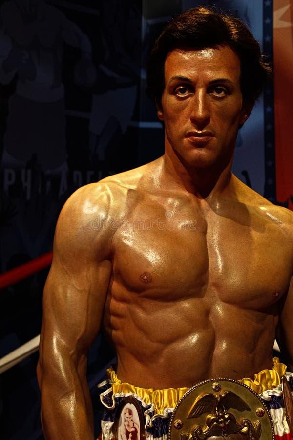 Sylvester Stallone als Rocky Balboa in Mevrouw royalty-vrije stock foto's