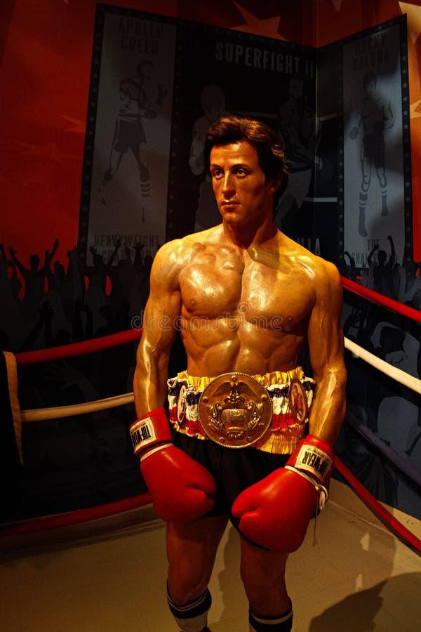 Sylvester Stallone als Rocky Balboa in Mevrouw stock foto's