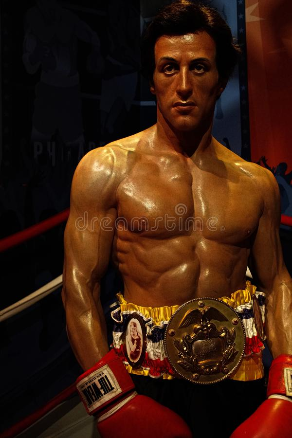 Sylvester Stallone als Rocky Balboa in Mevrouw stock afbeelding