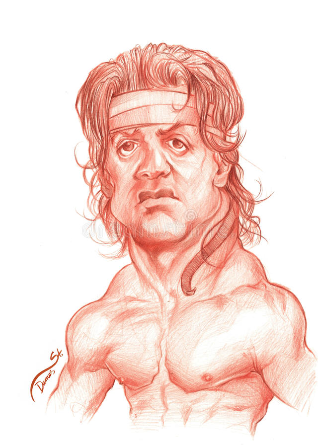 Sylvester Stallone Caricature Sketch. Stallone Caricature. Editorial Use Illustration for Newspapers, Magazines or Internet