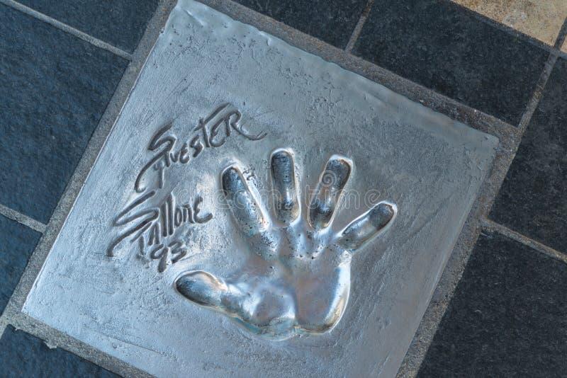 Sylvester Stallone handtryck fotografering för bildbyråer