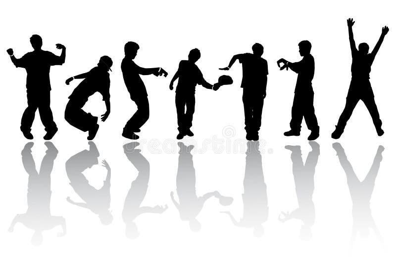 sylwetek dancingowi ludzie ilustracji
