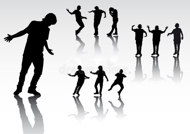 Download Sylwetek dancingowi ludzie ilustracja wektor. Ilustracja złożonej z czerń - 13326301