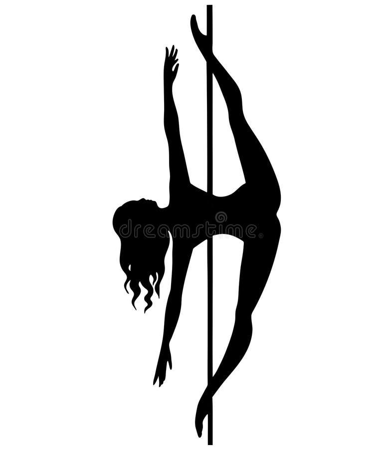Sylwetek kobiet słupa tana felix fałd ilustracji