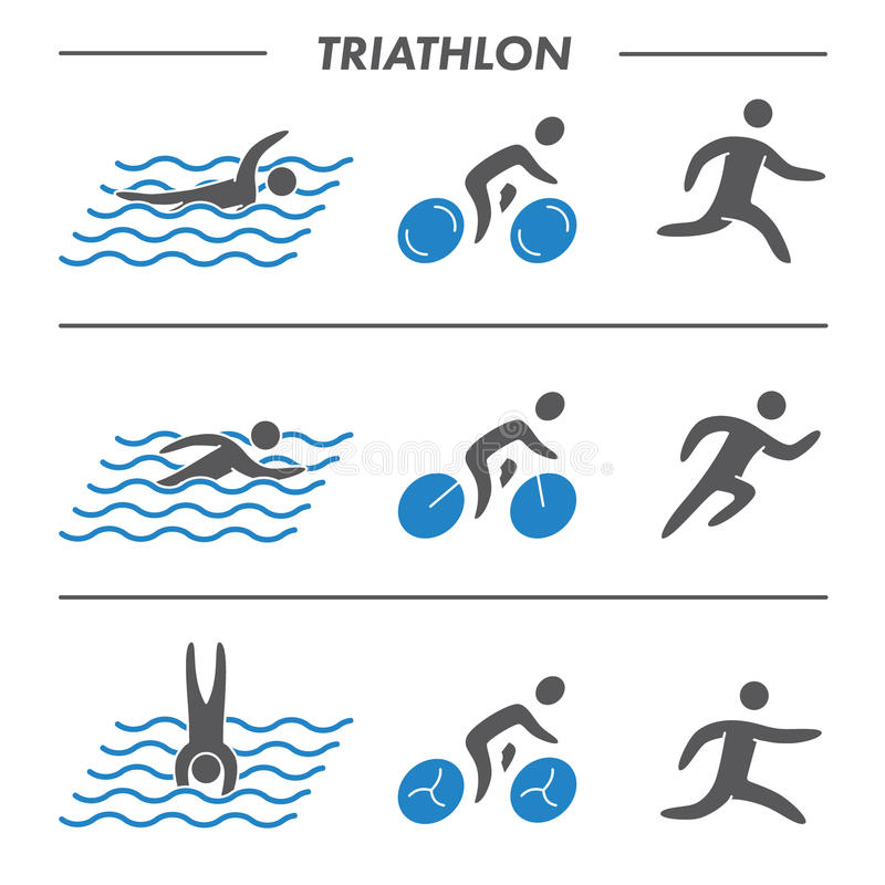 Sylwetek postaci triathlon atlety ilustracja wektor