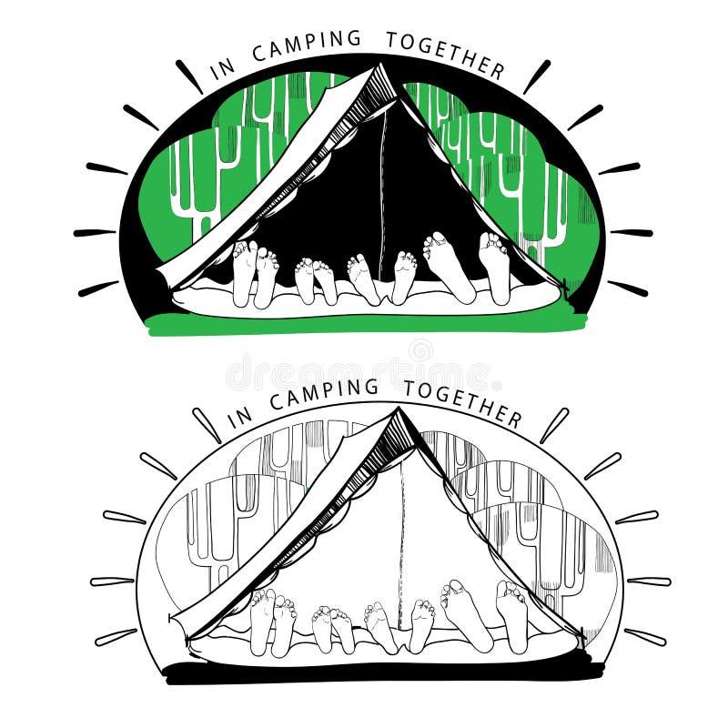 Sylwetek różnicy śmieszni campingowi namioty dalej ilustracja wektor