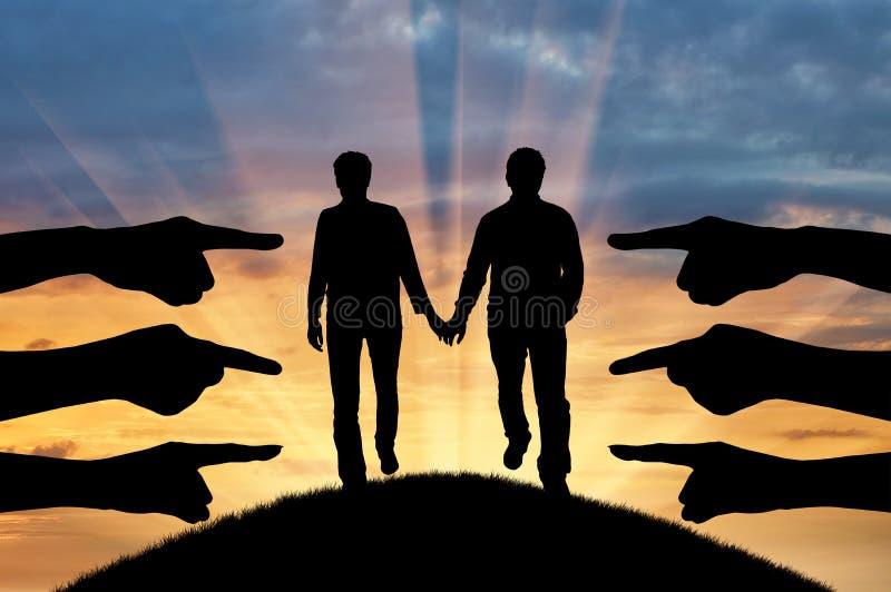 Sylwetek ręk przedstawienie potępia homoseksualnej pary fotografia royalty free
