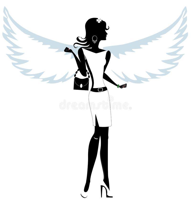 Sylwetka Ładny młoda kobieta anioł ilustracja wektor