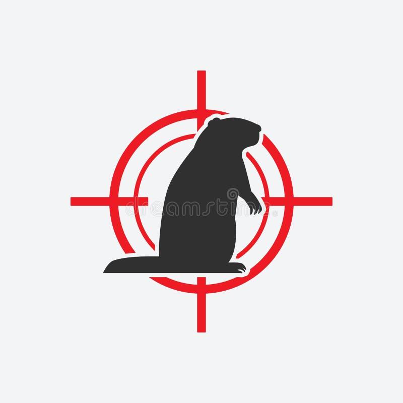 Sylwetka świńska Czerwony cel ikony szkodnika royalty ilustracja