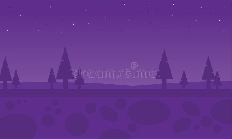 Sylwetka świerczyna przy nocą royalty ilustracja
