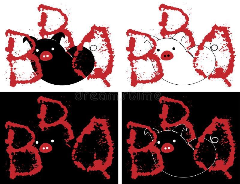 Sylwetka świnia z listami grill i krwionośnego kiść minimalizmu kreatywnie logo ilustracji