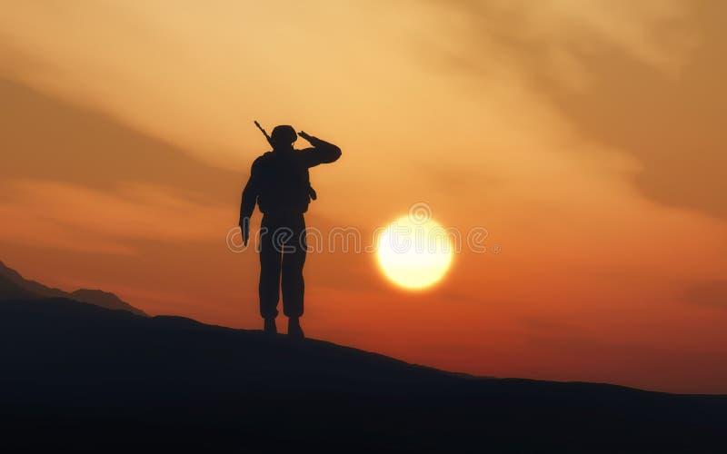 Sylwetka żołnierza salutować ilustracji