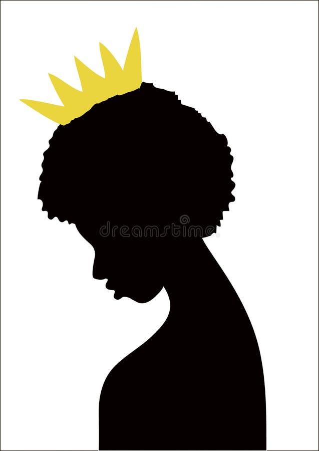 Sylwetka Afrykańska dziewczyna z koroną ilustracji
