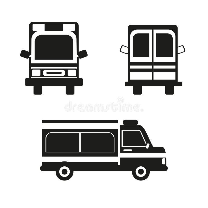 Sylwetka ambulansowy samochód z czarną pełnią, wektorowa ikona royalty ilustracja