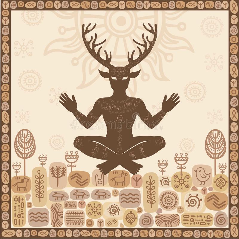 Sylwetka antyczny poganin uzbrajać w rogi bóg Cernunnos, męski rogacz, duch drewno ilustracji
