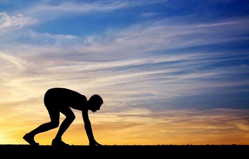 Sylwetka atleta w pozyci biegać zdjęcia stock