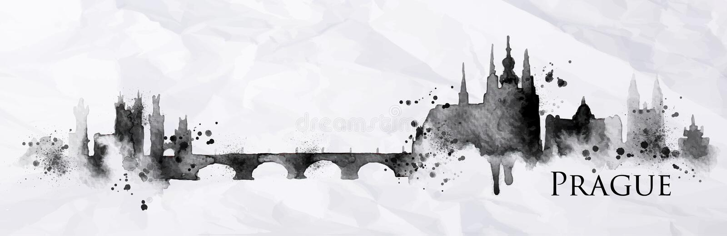 Sylwetka atrament Praga ilustracji