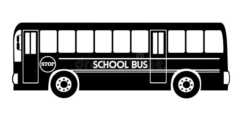 Sylwetka autobusu szkolnego ilustracyjny wektorowy czarny kolor ilustracja wektor