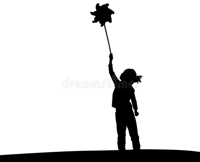 Sylwetka bawić się z pinwheel litte dziewczyna ilustracja wektor
