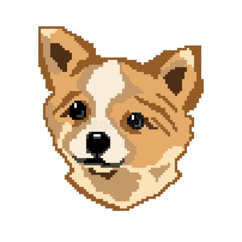 Sylwetka be?owego psiego trakenu Rosyjski zabawkarski terier, twarz, malowa? w postaci kwadrat royalty ilustracja