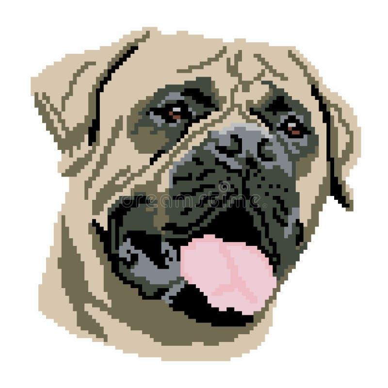 Sylwetka be?owy psi Bultmastif traken, kaganiec, portret malowa? w postaci kwadrat ilustracja wektor