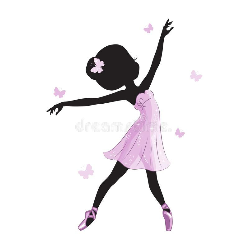 Sylwetka beauliful mały princess ilustracja wektor