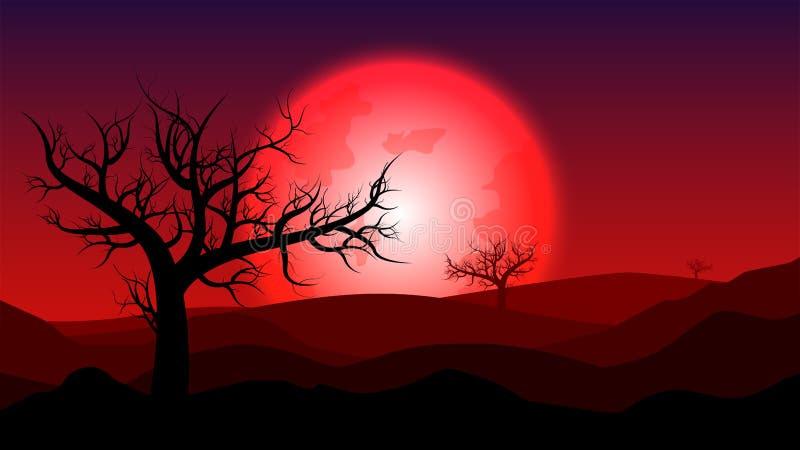 Sylwetka bezdeszczowy krajobraz; krwionośna księżyc na pustyni przy zmierzchem; d ilustracji