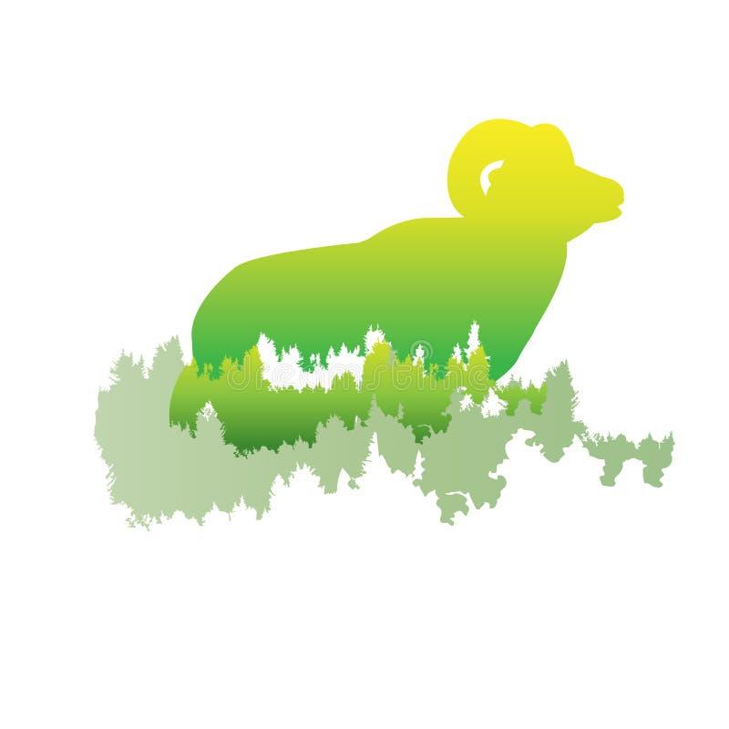 Sylwetka bighorn cakiel Wśrodku sosnowego lasu, jaskrawy col ilustracja wektor