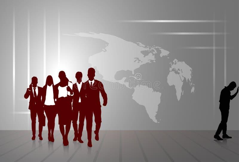 Sylwetka biznesmenów grupy Biznesowego mężczyzna I kobiety nakreślenia Światowej mapy Abstrakcjonistyczny tło ilustracji