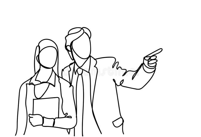 Sylwetka Biznesowego mężczyzna I kobiety mówienie, Doodle biznesmena punktu palca spotkania dyskusja ilustracja wektor