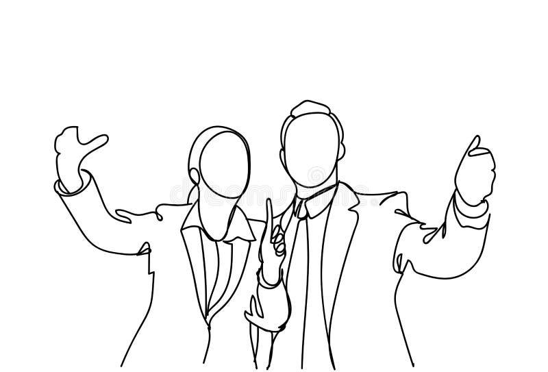 Sylwetka Biznesowego mężczyzna I kobiety ręka Gestykuluje Mówić, Doodle biznesmena punktu palca spotkania dyskusja royalty ilustracja