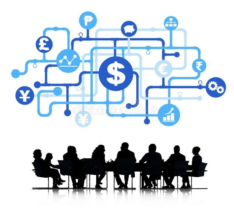 Sylwetka biznesu finanse analityka grupa royalty ilustracja