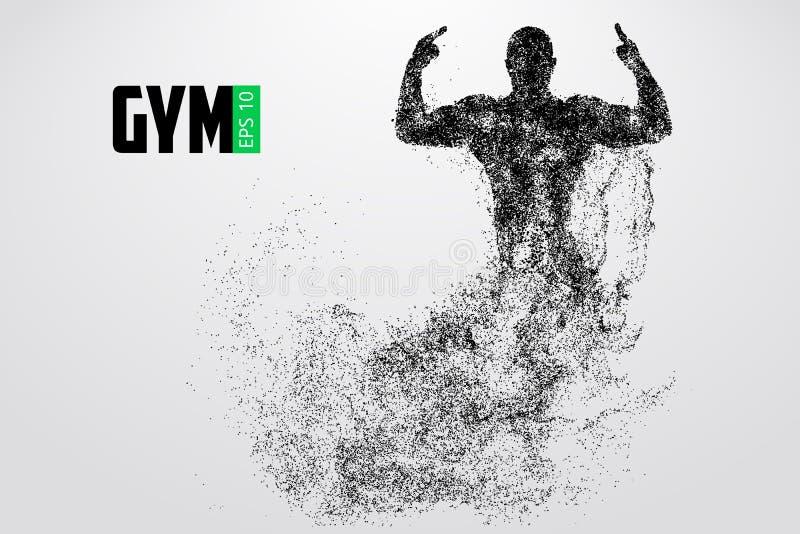 Sylwetka bodybuilder Gym loga wektor również zwrócić corel ilustracji wektora royalty ilustracja