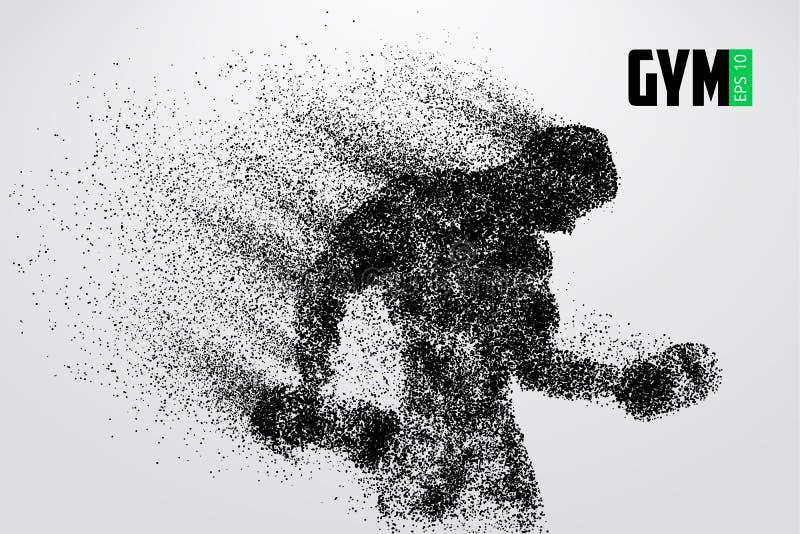 Sylwetka bodybuilder Gym loga wektor również zwrócić corel ilustracji wektora ilustracji