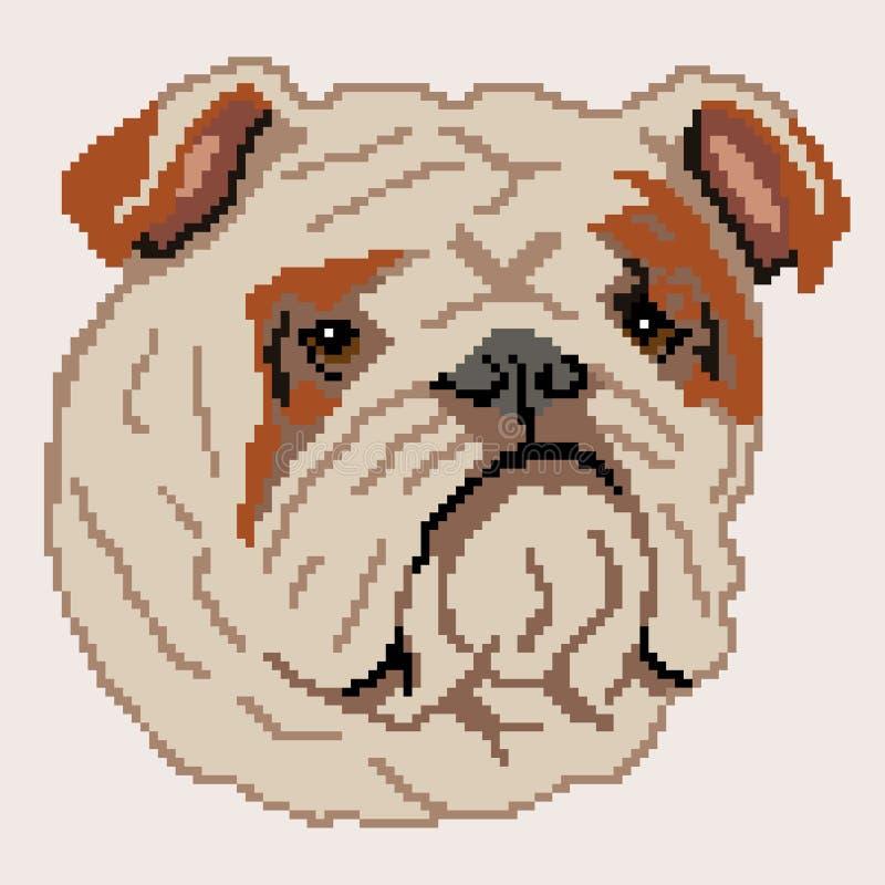 Sylwetka br?zu psa buldoga Angielski traken, twarz, malowa? w postaci kwadrat ilustracji