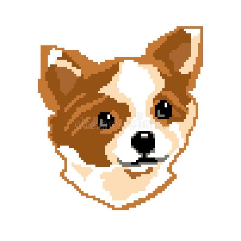 Sylwetka br?zu psa trakenu Rosyjski zabawkarski terier, twarz, malowa? w postaci kwadrat ilustracji