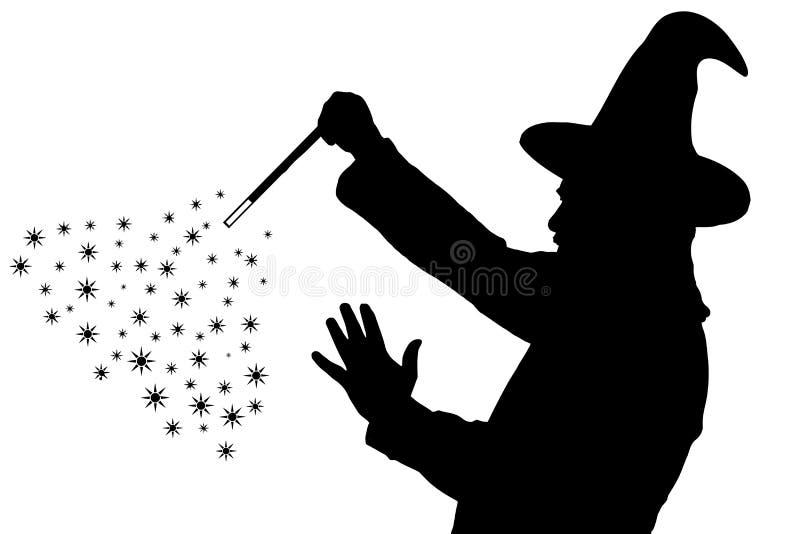 Sylwetka brodaty czarownik w pelerynie z śpiczasty kapeluszowy tworzyć ilustracji