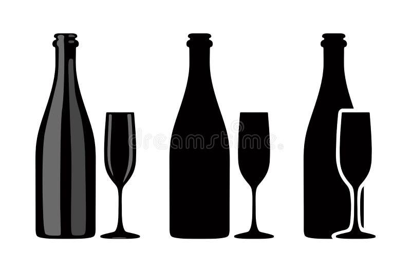Sylwetka butelka szampan i szkło również zwrócić corel ilustracji wektora royalty ilustracja