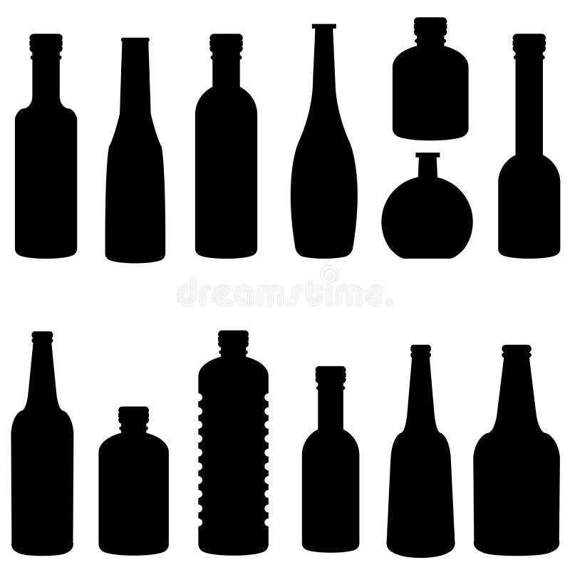 Sylwetka butelka ustalony wektor ilustracja wektor