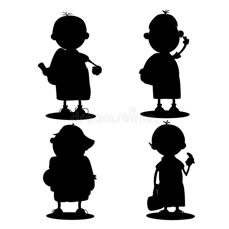 Sylwetka chłopiec dziecko w wieku szkolnym na białym tle, royalty ilustracja