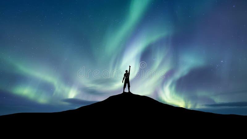 Sylwetka championat północnego światła tło fotografia stock