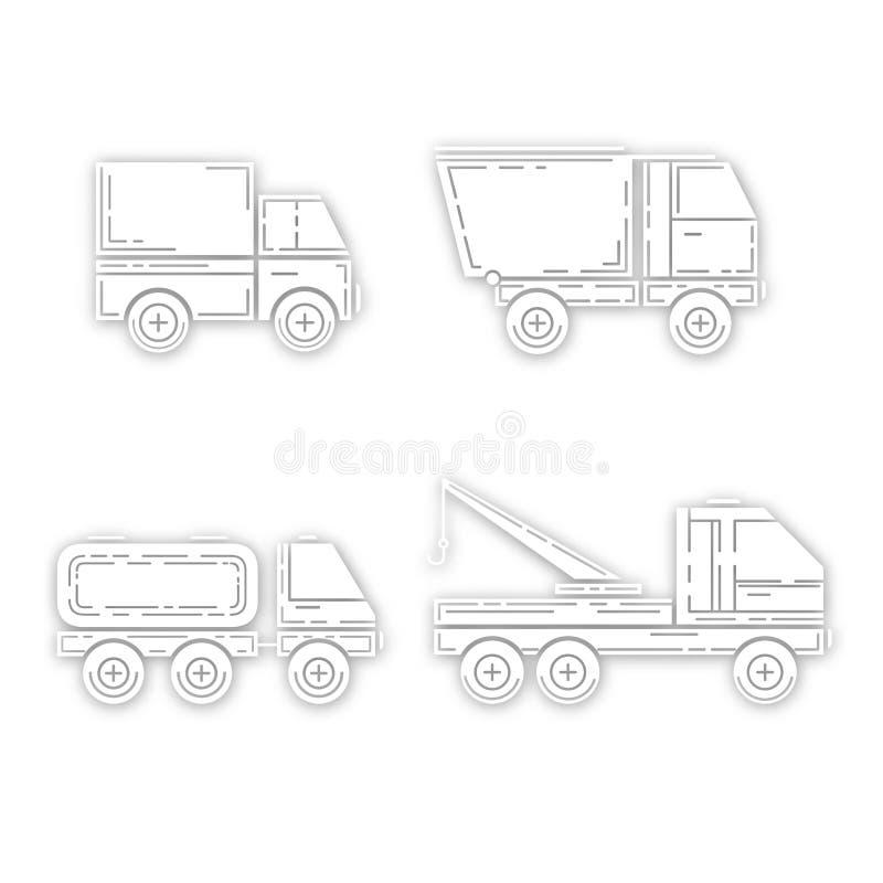 Sylwetka ciężarówka z cieniem - wektor ilustracja wektor