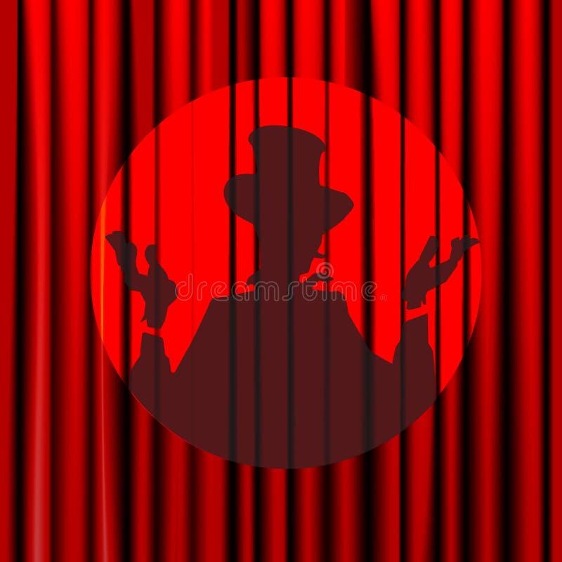 Sylwetka, cień, magik, aktor, zamykał zasłonę na tle czerwień, teatr, cyrk, plakaty, arena, odizolowywająca royalty ilustracja
