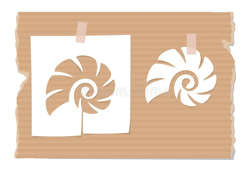 Sylwetka cockle skorupa ciie out od papieru na kartonie royalty ilustracja