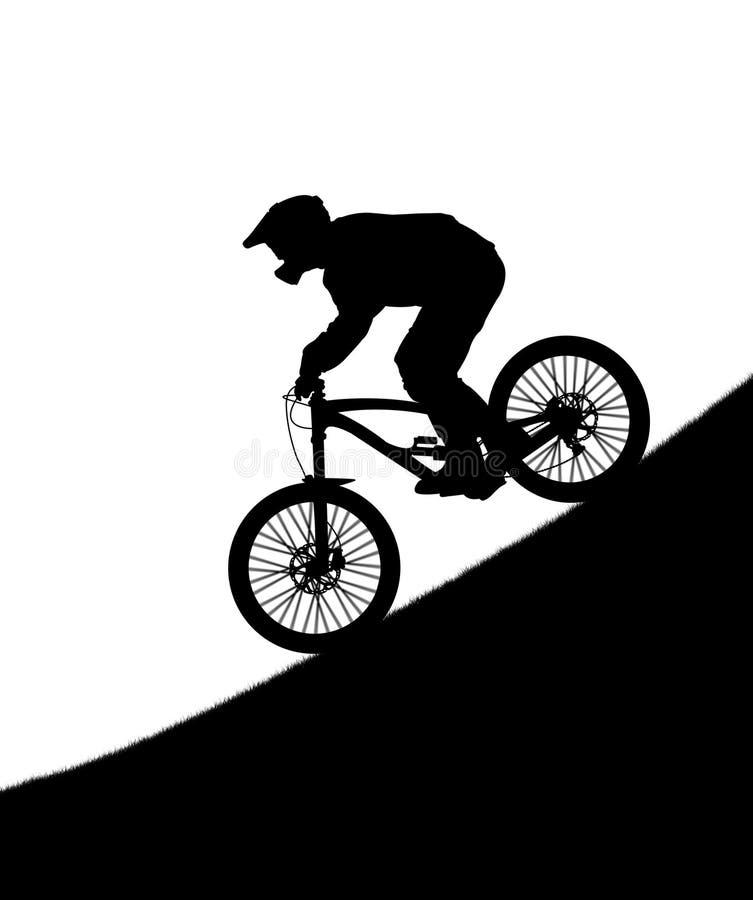 Sylwetka cyklista na zjazdowym rowerze ilustracji