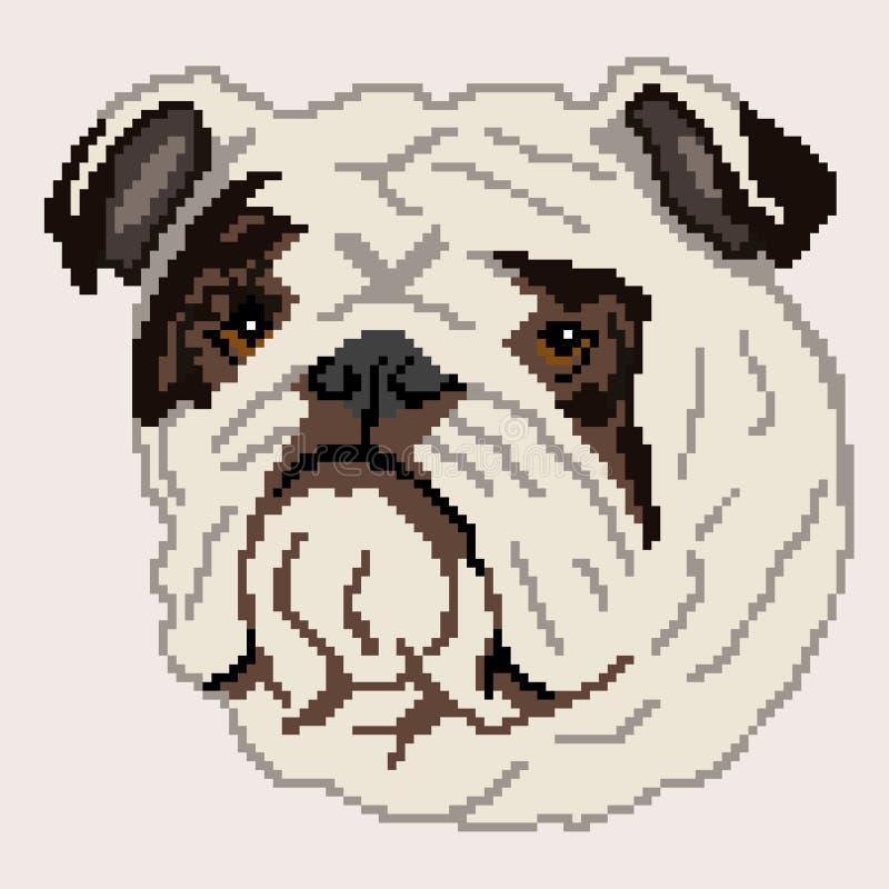 Sylwetka czarnego psa trakenu Angielski buldog, twarz, malowa? w postaci kwadrat royalty ilustracja
