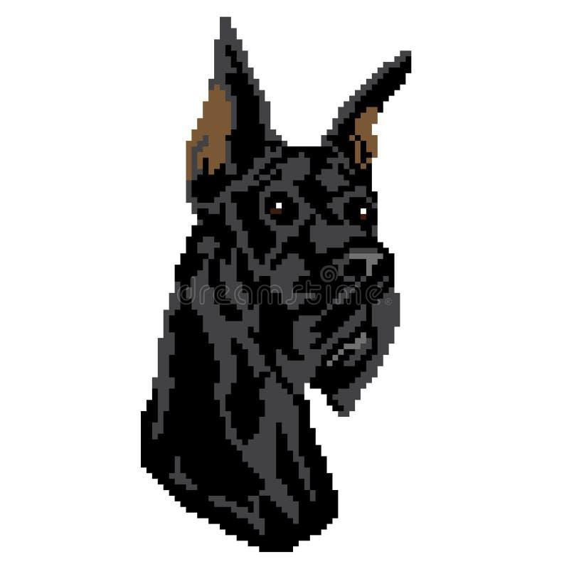 Sylwetka czarnego psa trakenu pies, twarz, malowa? w postaci kwadrat royalty ilustracja
