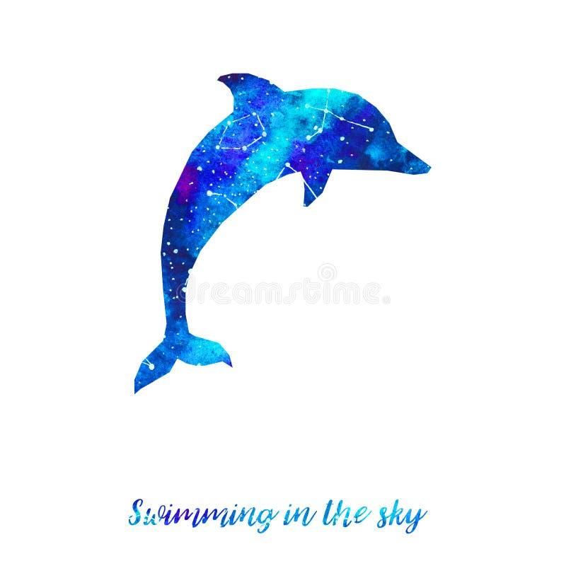Sylwetka delfin Gwiaździsty niebo z różnymi gwiazdozbiorami Ręka remisu akwarela Karta Pływać w niebie royalty ilustracja