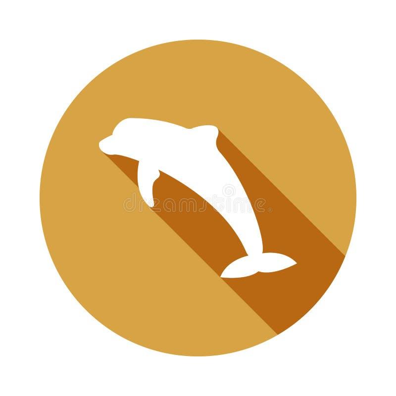sylwetka delfin ikona w mieszkaniu, Tęsk cień royalty ilustracja