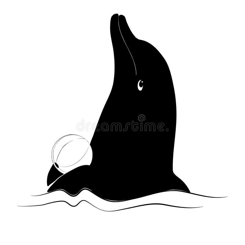 Sylwetka delfin z piłką na falach ilustracja wektor